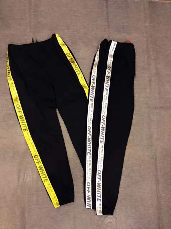 Off White 17SS Ribbon Pants High Quality Men Trousers Trend Brand Causal  Regular Trousers Sweatpants Neutral 210d445a6