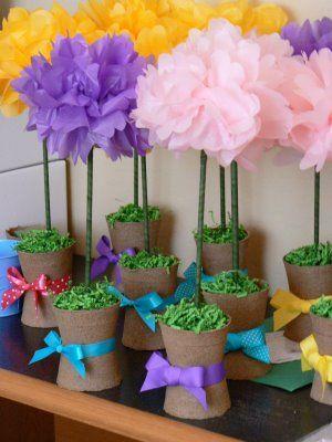 Use a pom pom tutorial to make these cute topiaries by adding a use a pom pom tutorial to make these cute topiaries by adding a dowel rod paper flower mightylinksfo