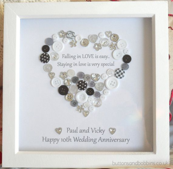 Wedding Anniversary Button Picture Engagement Gift Personalised