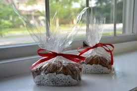 plan on making pumpkin bread (slices) to send home for Thanksgiving…package with a doily and plastic bag!