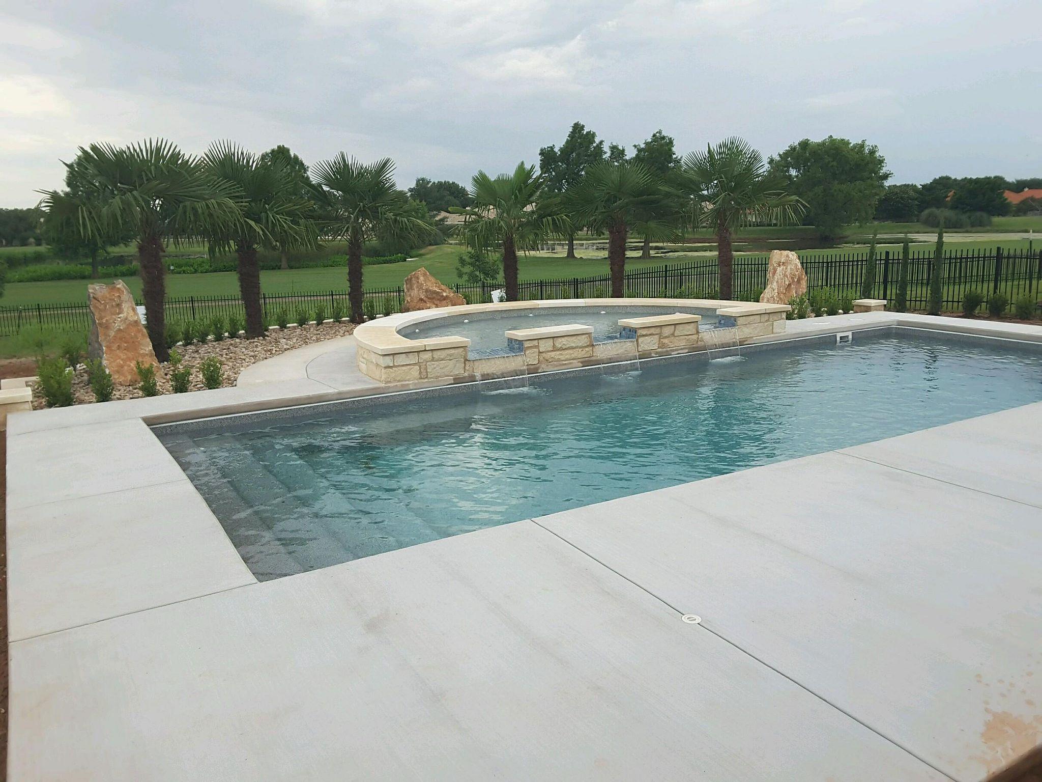 claremont fiberglass pool by aquamarine pools of texas with semi