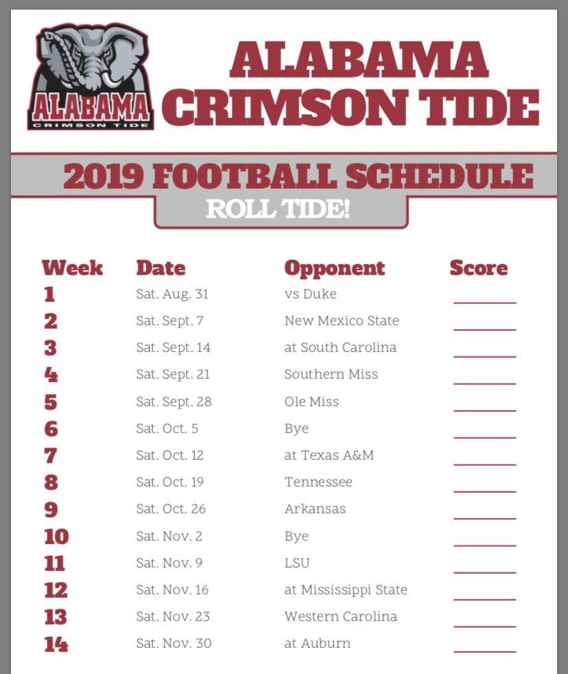 2019 schedule Alabama football schedule, Alabama crimson