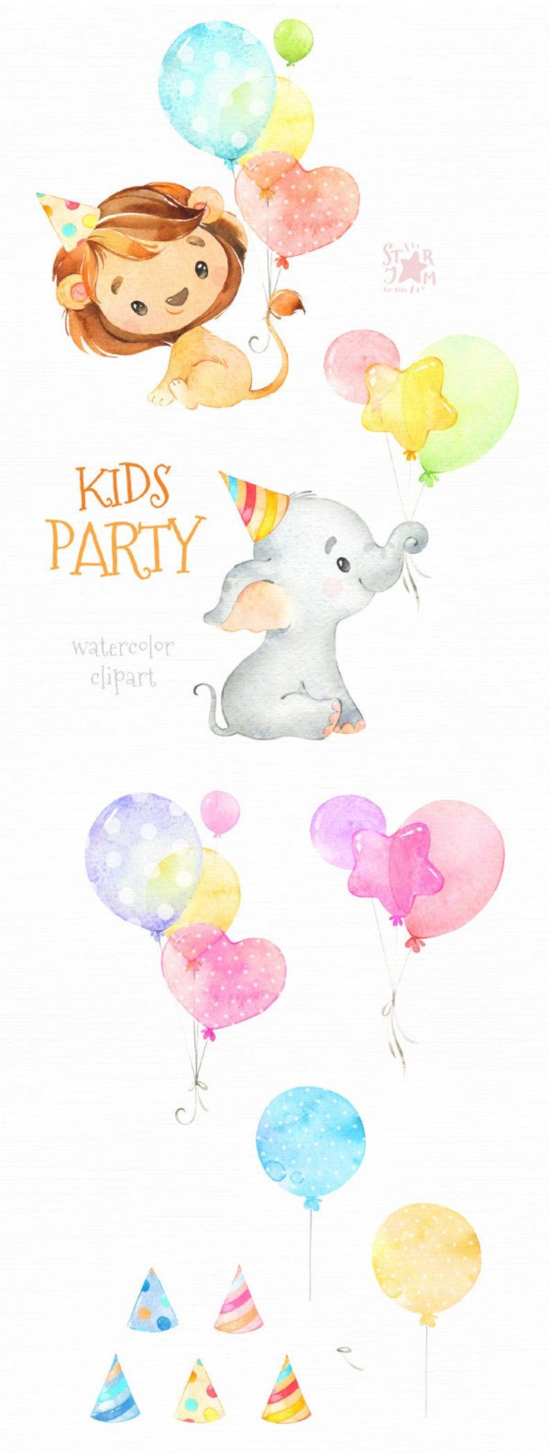 Kids Party Elephant Lion Watercolor Little Animal Birthday Etsy In 2021 Birthday Clipart Clip Art Baby Clip Art