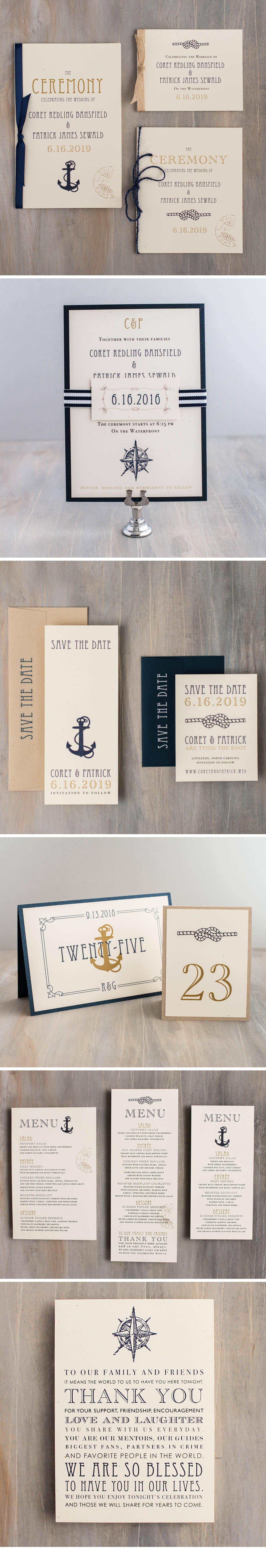 nautical bliss customizable gold navy wedding invitations