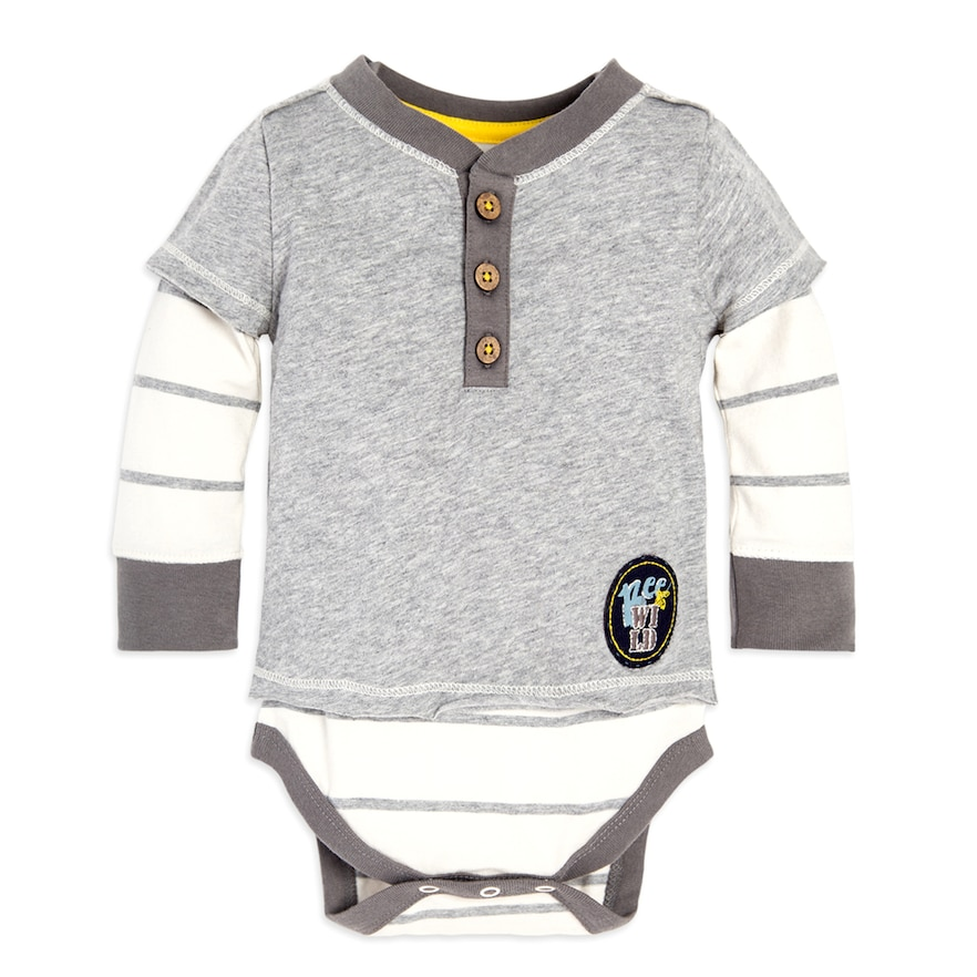 6b261e06d Baby Boy Burt's Bees Baby Organic Wild Bee Henley Mock Layer Bodysuit,  Natural