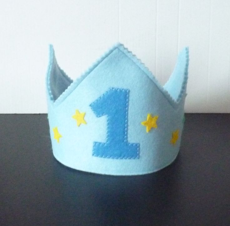 Boys 1st Birthday crown, felt crown, any age Felt Birthday crown, blue crown, bo... #feltcrown