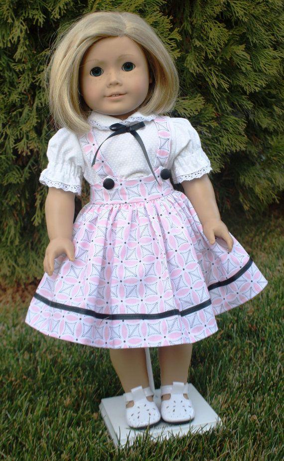 American Girl 1950s Pink with Black Jumper | American girl, Vestidos ...
