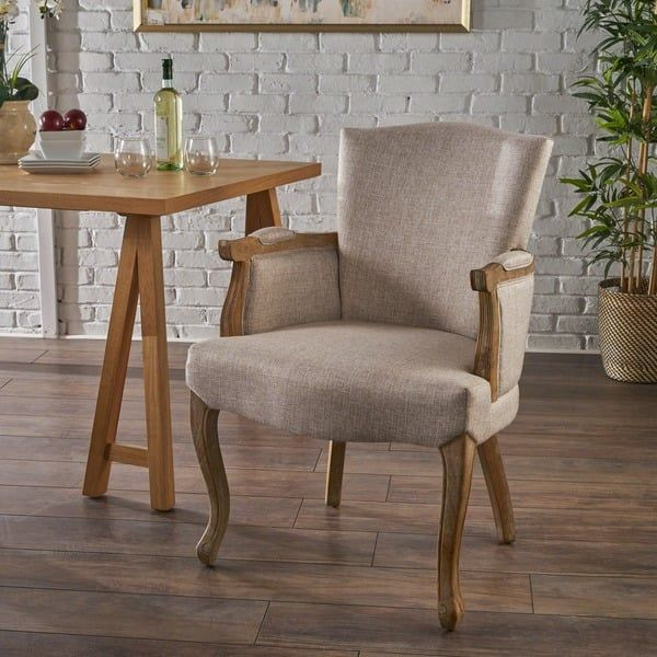 Emina Traditional Fabric Armed Dining Chair By Christopher Knight Home