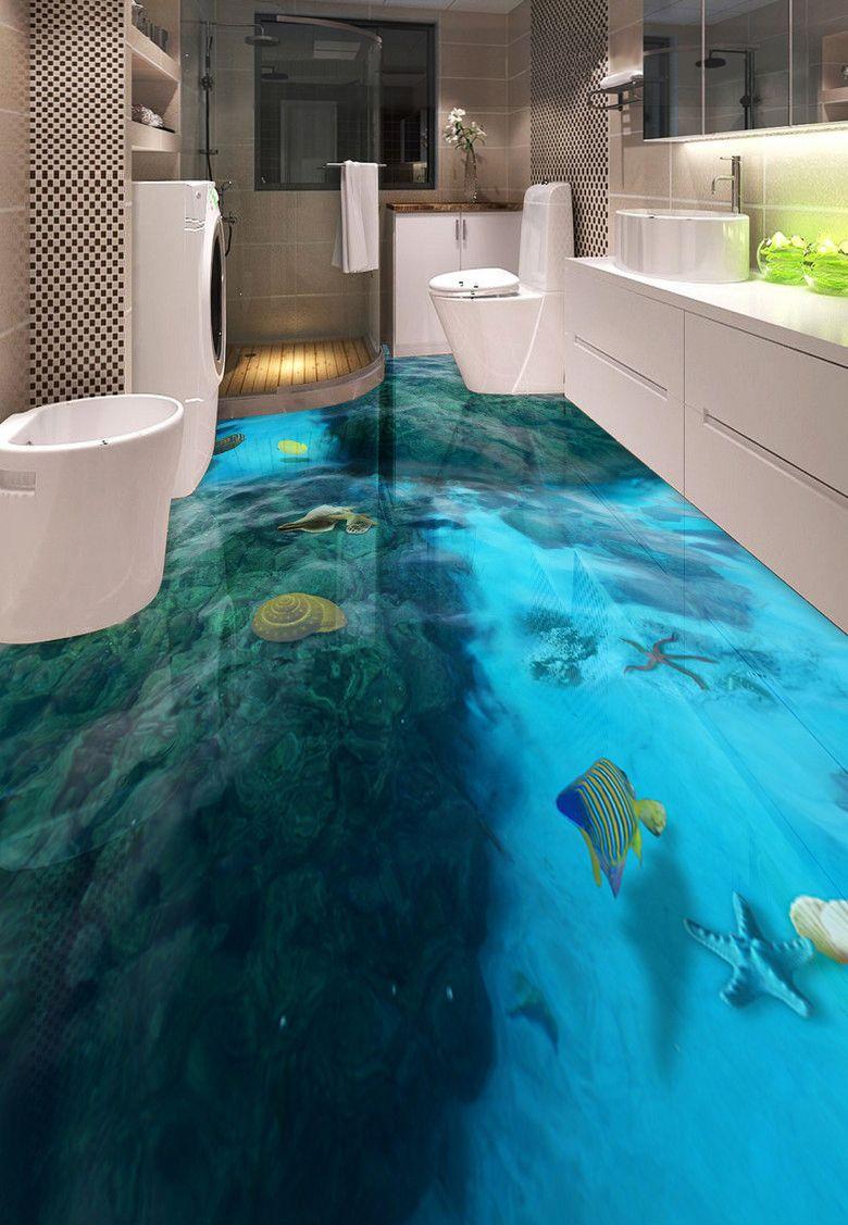 rev tement de sol salle de bain trompe l 39 il 3d paysage de la mer les rochers les salle de. Black Bedroom Furniture Sets. Home Design Ideas