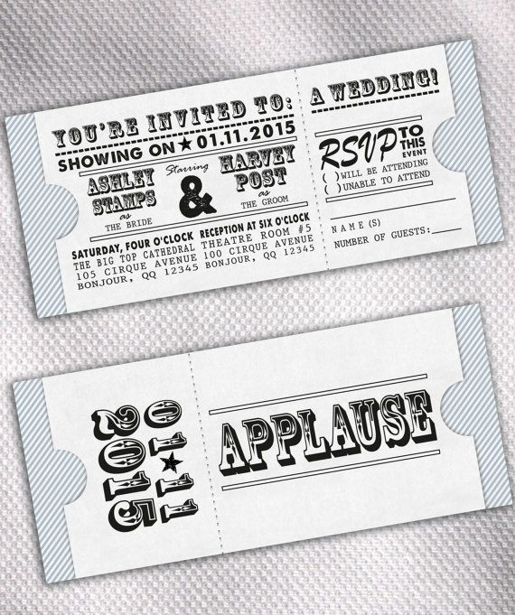Sample Movie Ticket Wedding Invitation Set By Aprilsanson On Etsy
