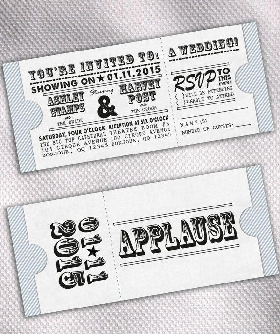 SAMPLE Movie Ticket Wedding Invitation Set By AprilSanson On Etsy, $1.85