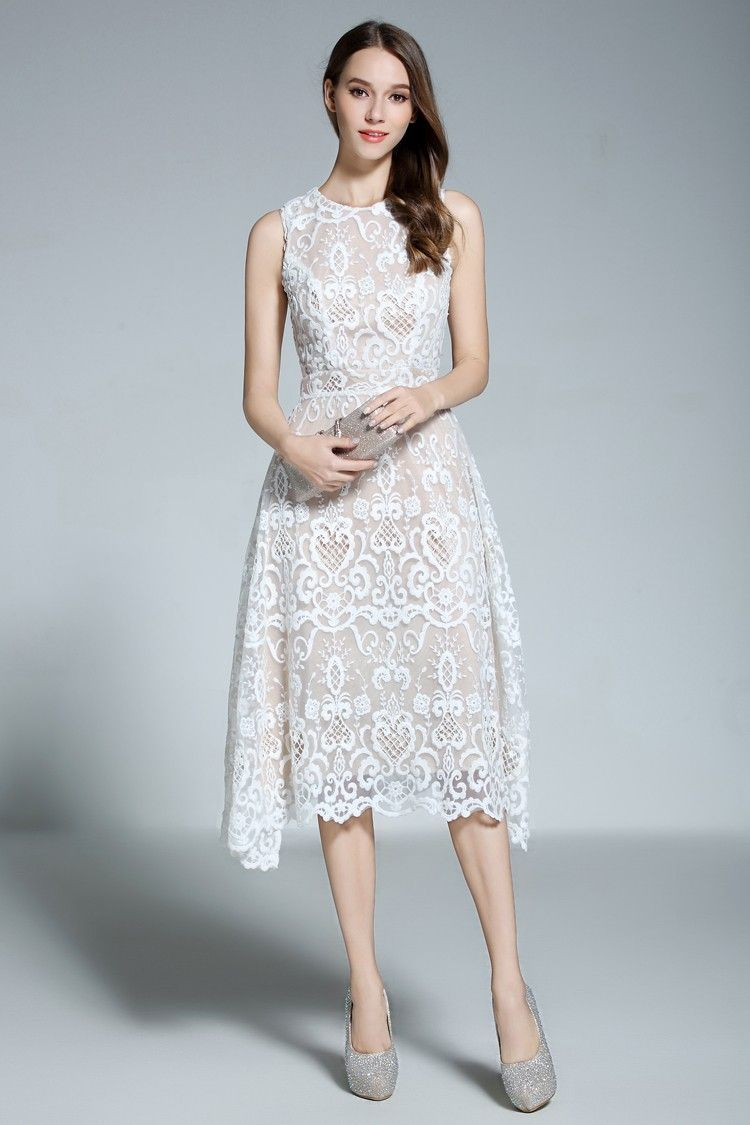 df7c624627fbe Shop affordable a-line scoop neck white lace sleeveless knee-length formal  dress online. Occasion dresses with free shipping.
