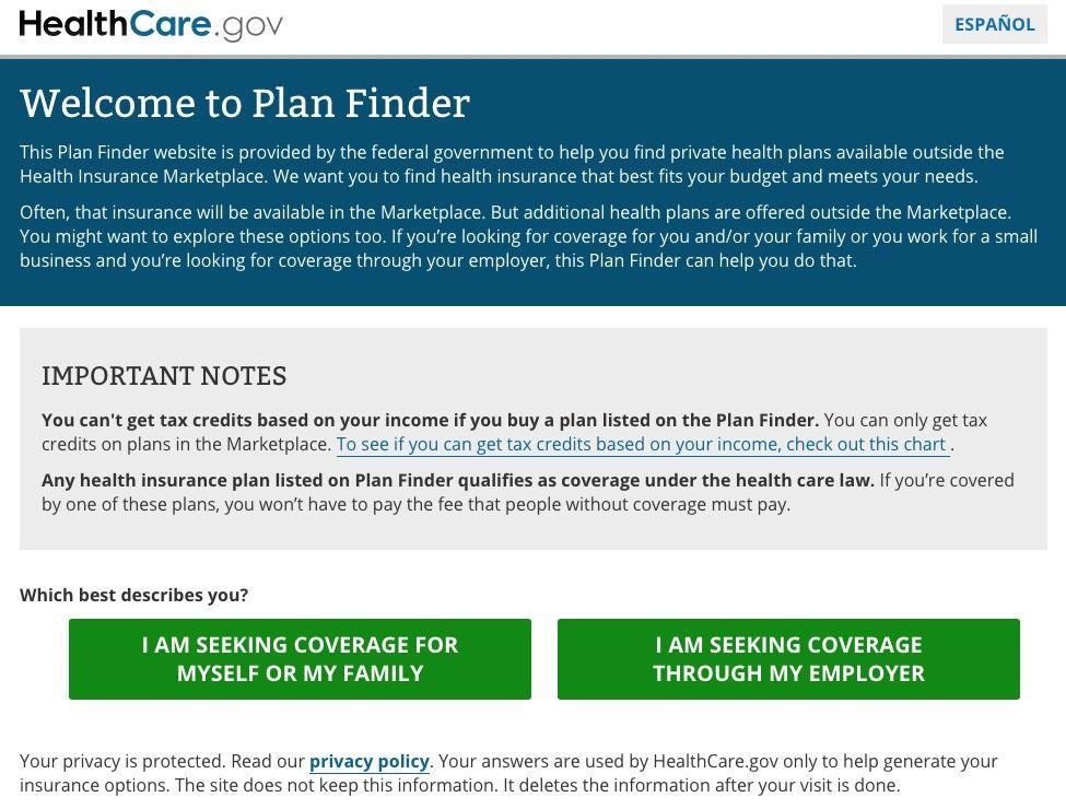 Don T Forget Healthcaregov S Off Exchange Plan Finder How To