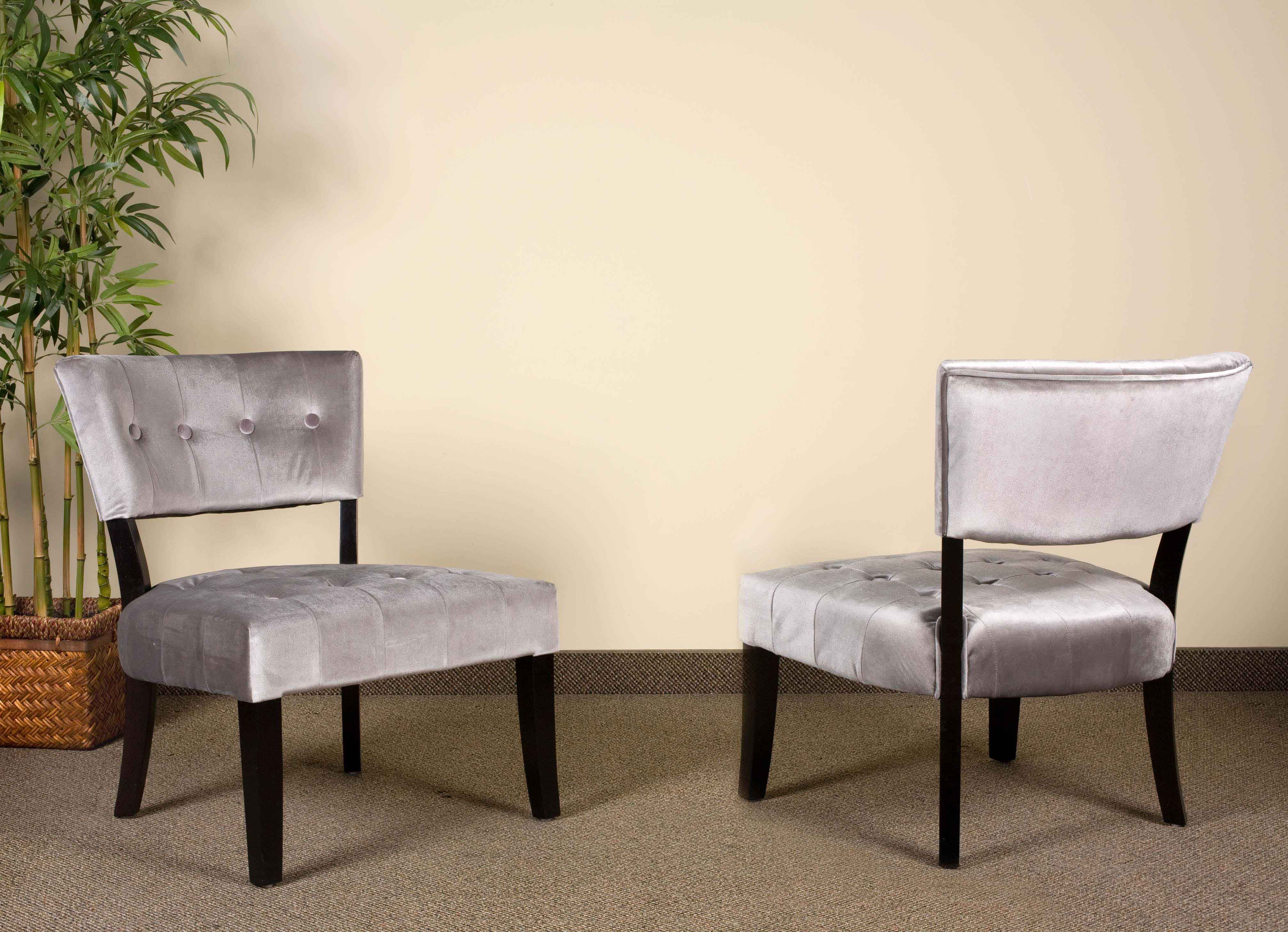 Silver Panne Velvet Accent Chairs Grey Amp Yellow Living