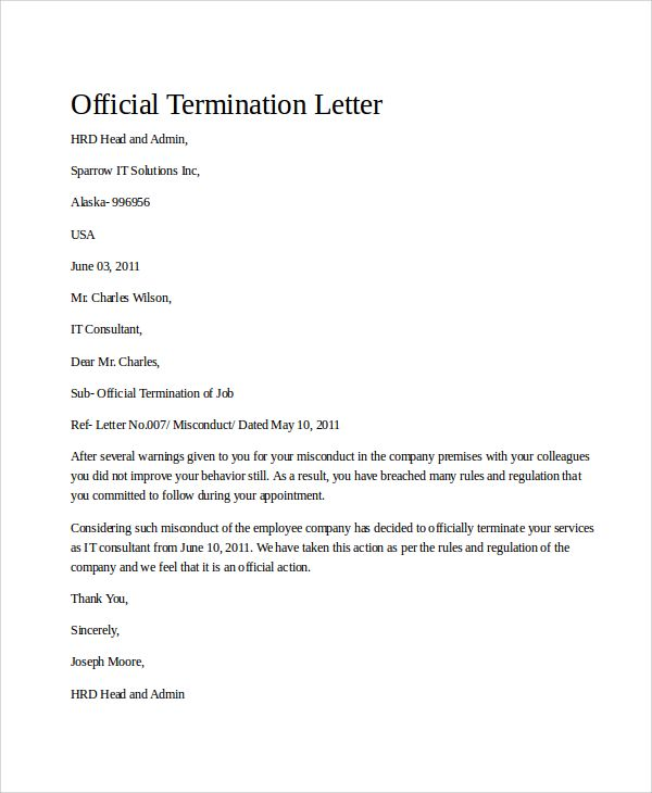 sample termination letter examples word pdf notice template free - official letter
