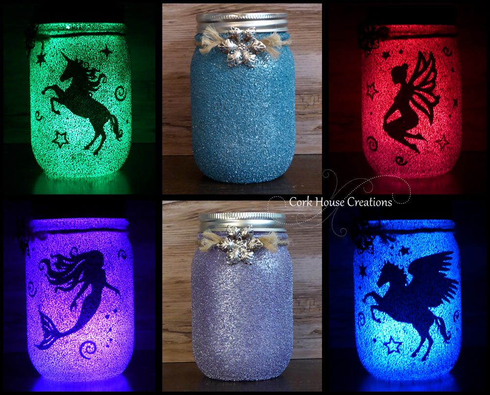 Color Changing Fairy Jar Unicorn Mermaid Pegasus