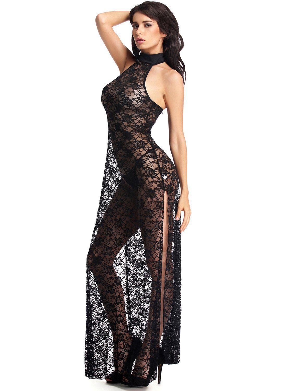 Amoretu Womens Floral Lace Lingerie Long Cheongsam Side Split Gown ...
