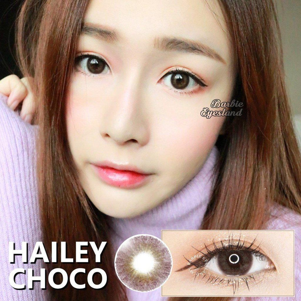 Hailey series contact lens is Barbie Eyesland's natural effect series which secretly brigthens the eye with its semi-opaque decorative patterm. There are two colours in total for this series. Black: Black outer rim colour which gradually blend in with the brown colour in the inner rim. This colour combination has the layering effect which is definitely bareface friendly and it brings liveliness to eyes. Choco: Slightly lighter colour on the eye but also has the same effect as the black colour.
