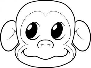 How To Draw A Monkey Face Step 7 Cartoon Monkey Drawing Monkey Drawing Monkey Coloring Pages