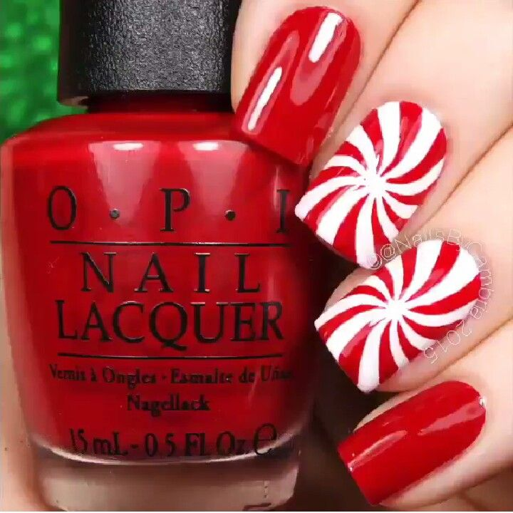 Peppermint nails | beautiful nail art | Pinterest | Peppermint, Xmas ...