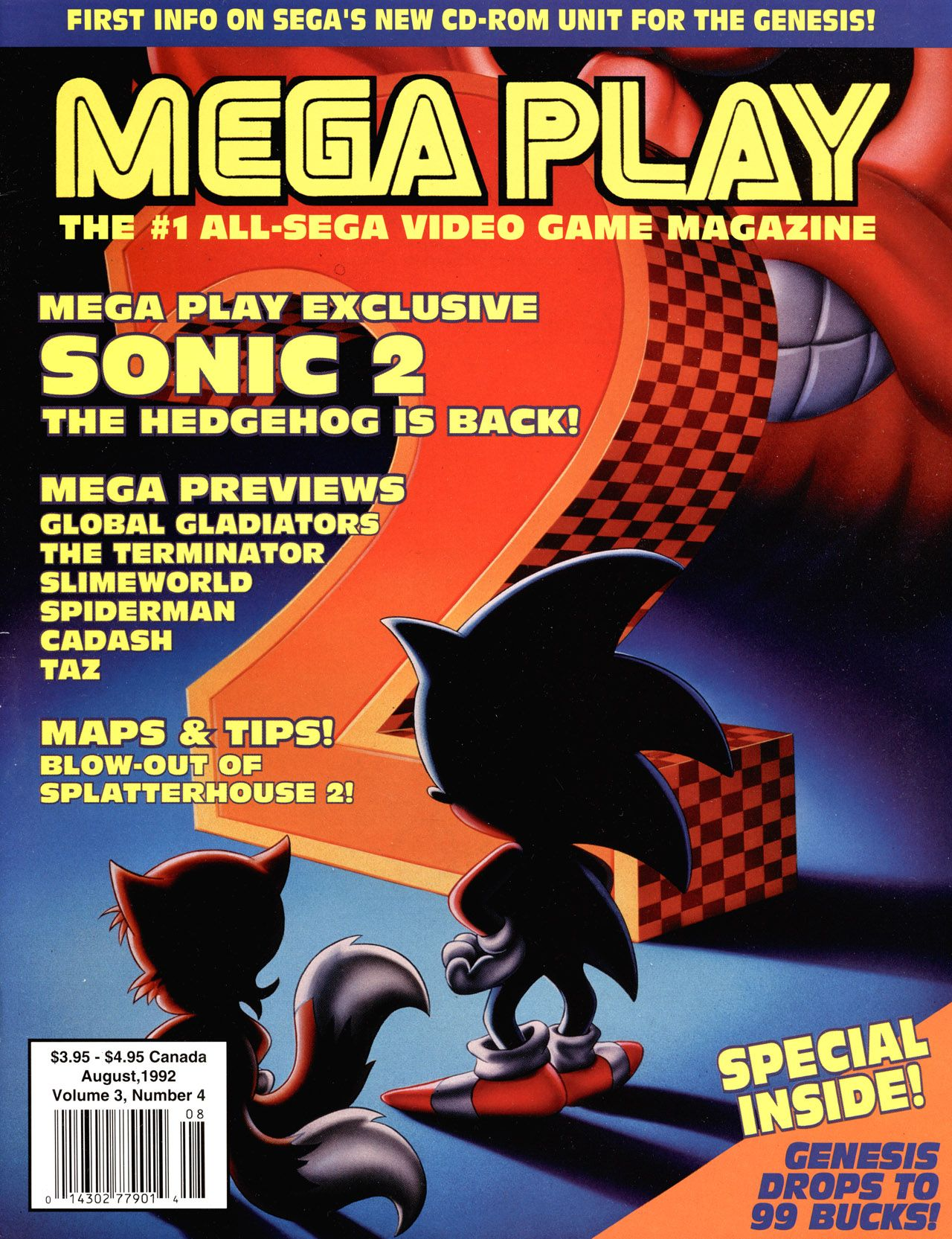 All caps magazine cover that uses the special font of SEGA