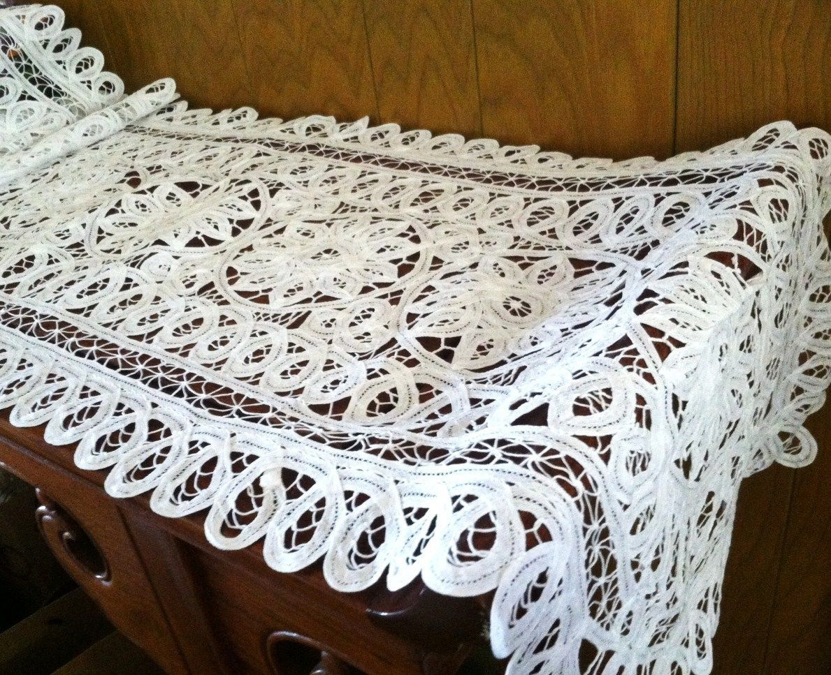 New 16x62 White All Battenburg Lace Roses Table Runner Cloth Dresser Piano Cover Ebay