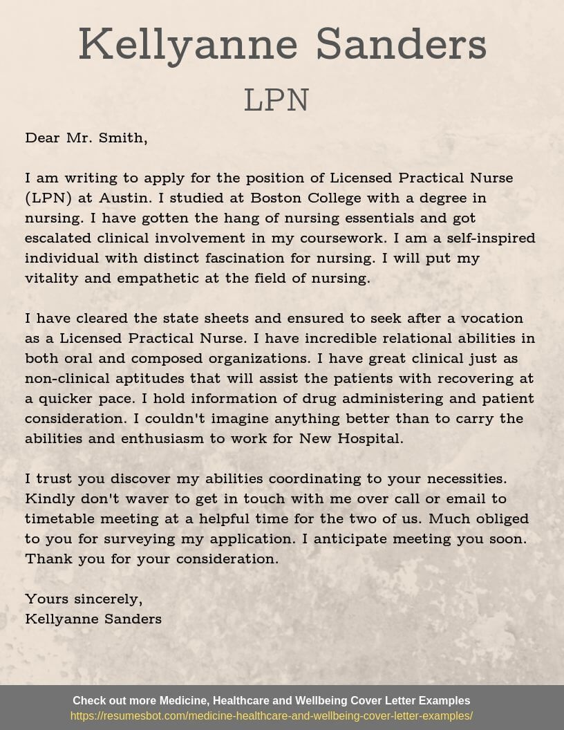 Cover letter example Licensed Practical Nurse Cover