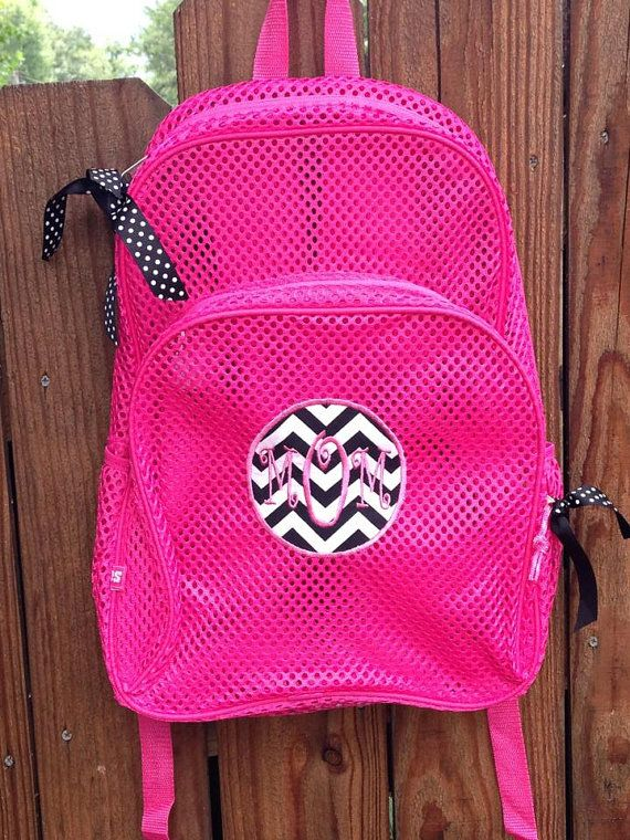 Monogram Mesh Backpack Clear Mesh Bookbag Personalized Applique ...