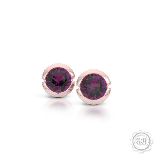 Elegant Design with a Modern Appeal – Mystic Rhodolite Garnet Martini Stud Earrings Handcrafted in Romantic Rose Gold. Find The Perfect Pair for Your Budget. Make it Personal - Choose Your Gemstones! Free Shipping on All USA Orders. 30Day Returns | BASHERT JEWELRY | Boca Raton, Florida