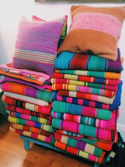 pillows in vivid colors from Peru