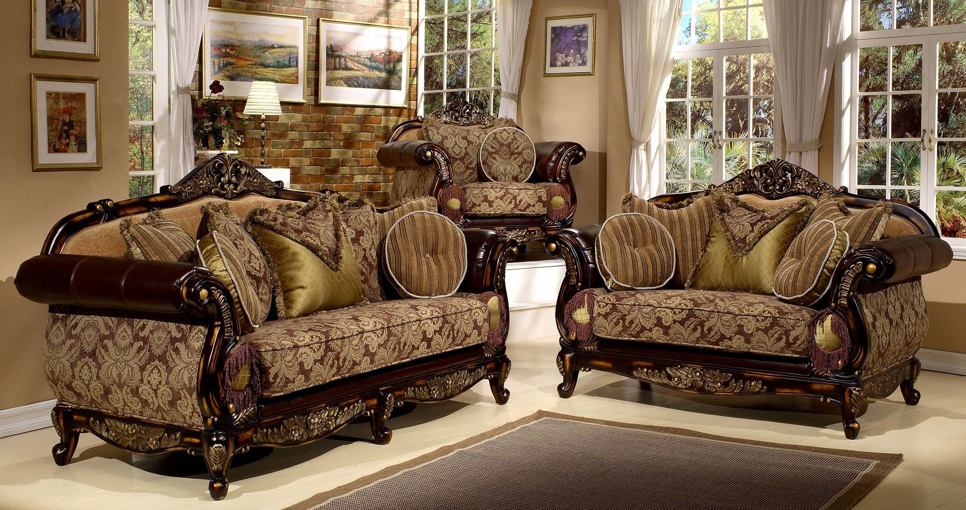 2 Tones Brown Finish Living Room Set With Gold Accent Classical