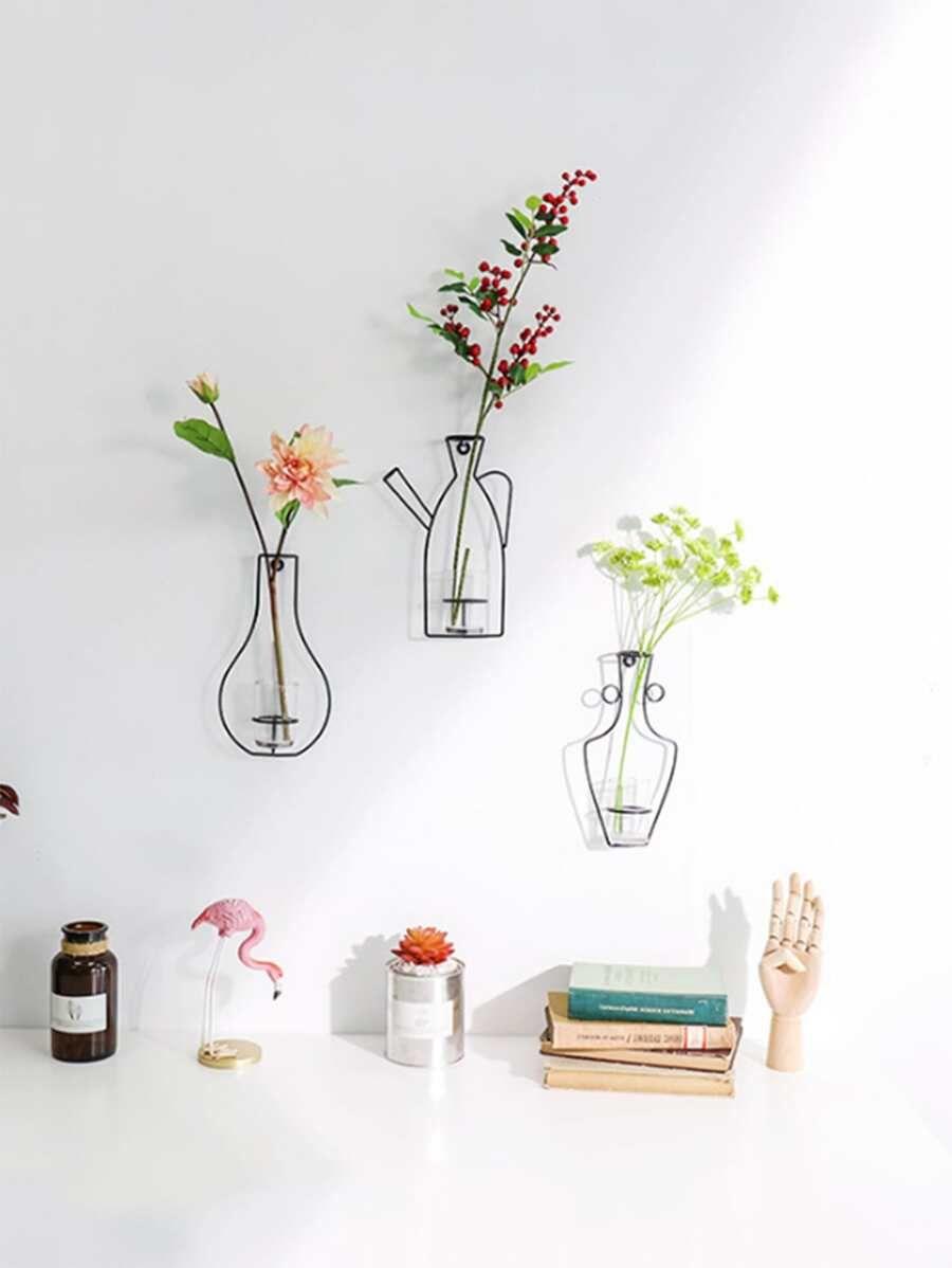 1pc Iron Flower Vase Wall Decor Shein Usa Simple Wall Decor Wall Decor Flower Vases