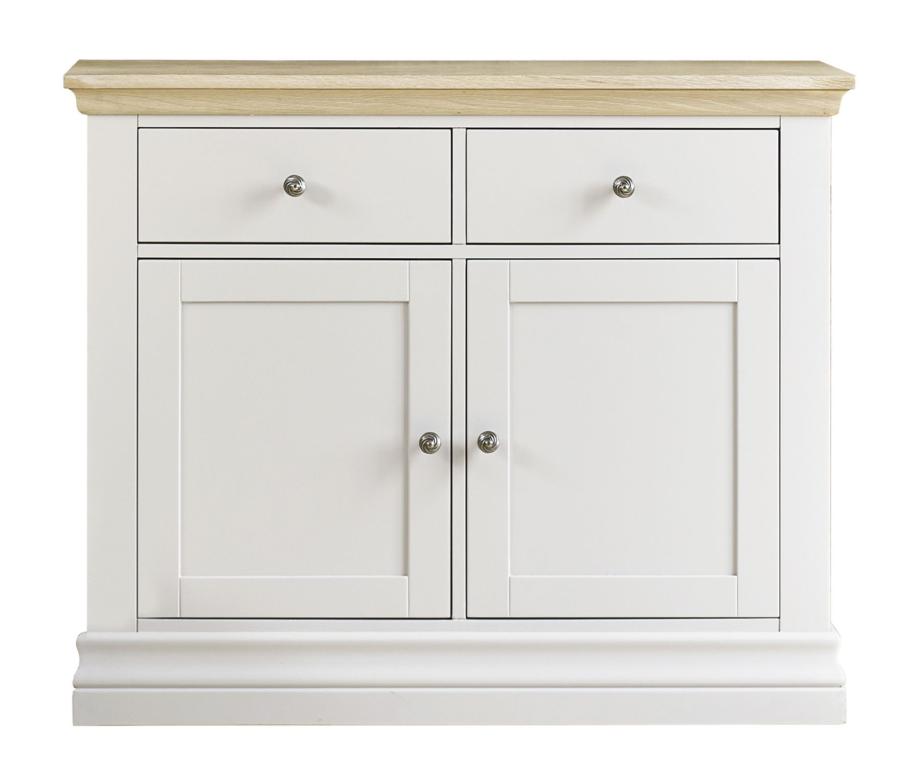 corndell annecy small sideboard hand painted in a clean crisp white with limed oak top. Black Bedroom Furniture Sets. Home Design Ideas