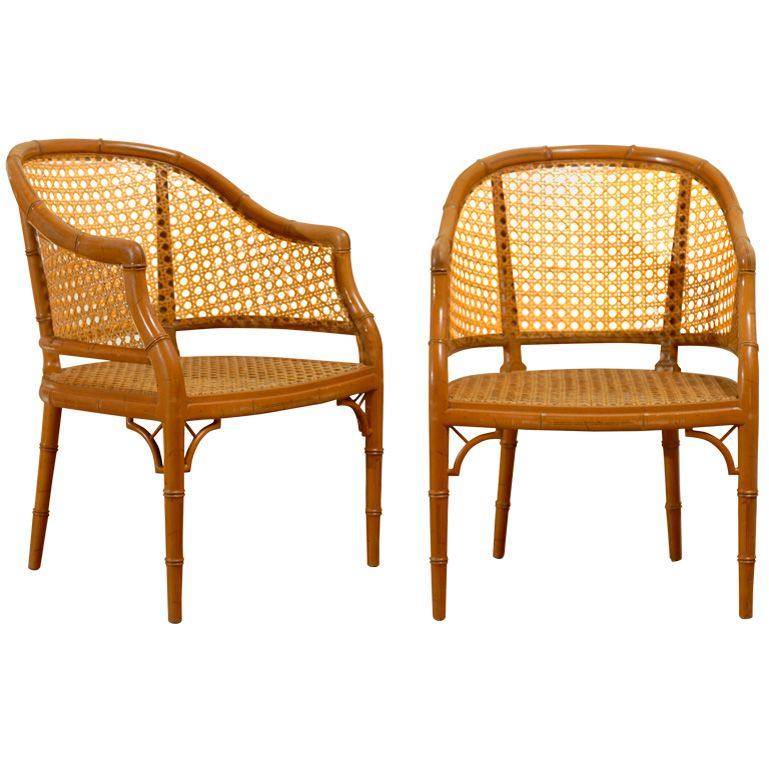 View this item and discover similar armchairs for sale at - Great pair of vintage  Baker cane barrel back chairs. - Vintage Baker Faux Bamboo Barrel Back In Cane - 4 Available From