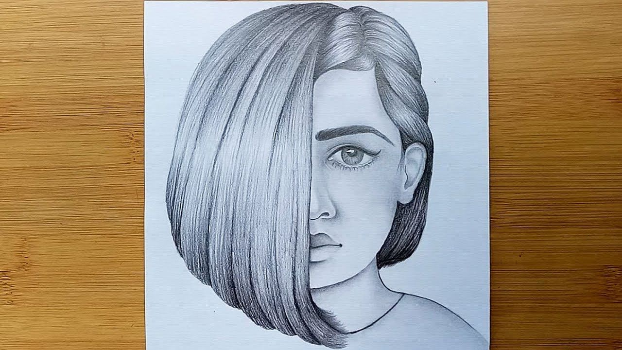 How To Draw A Girl Face With Pencil Sketch Step By Step Youtube Pencil Sketch Portrait Pencil Drawings Of Girls Beautiful Easy Drawings