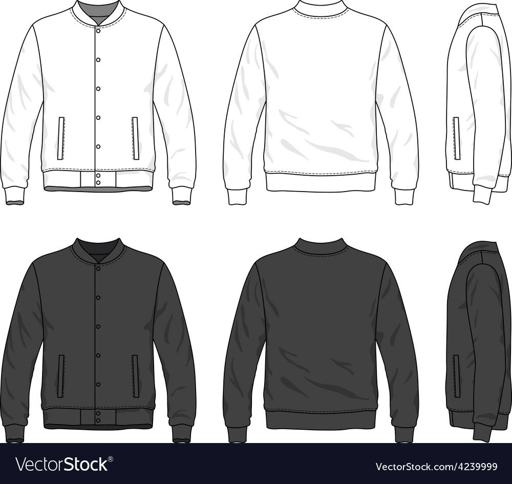 Blank Mens Bomber Jacket With Buttons In Front Back And Side Views Isolated On White Download A Free Preview O Hoodie Vector Hoodie Illustration Bomber Jacket [ 945 x 1000 Pixel ]