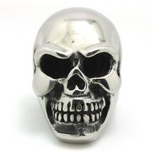 Wholesale Price Boy's New Arrival Huge Big Heavy Polishing Punk Gothic Big Hot Skull Another New Punk Gothic Desgin Silver Ring(China (Mainland))