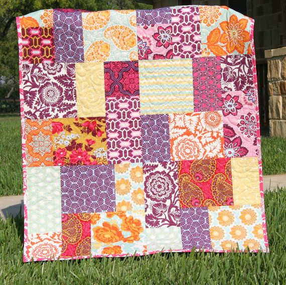 Big Block Quilt Pattern, Big and Tall, Fat Quarter Friendly Throw Baby Lap Quilt Size Fast Easy ...