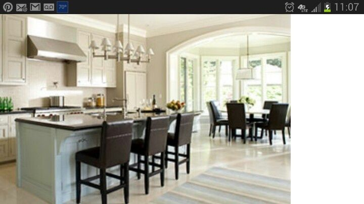 dream kitchen floor plans | Love the archway flow into next room ...