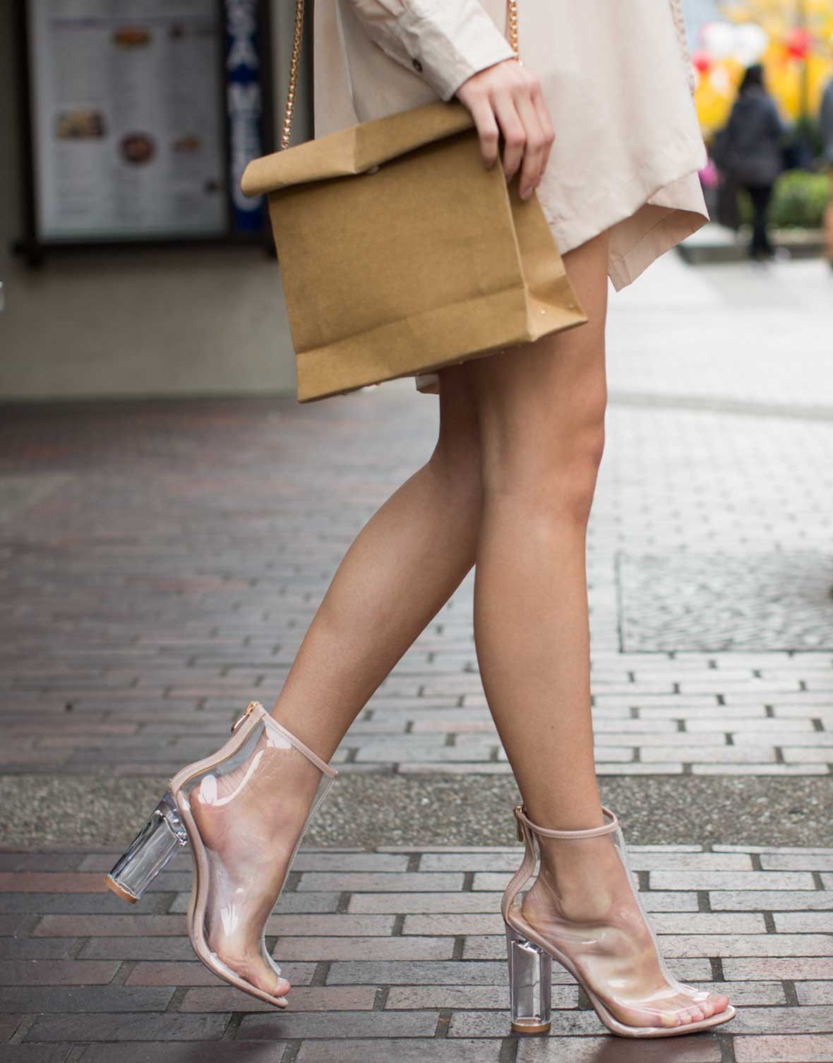 676a0c6fd19 Peep Toe Clear Heel Boots | Street Style Outfits | Clear heels ...