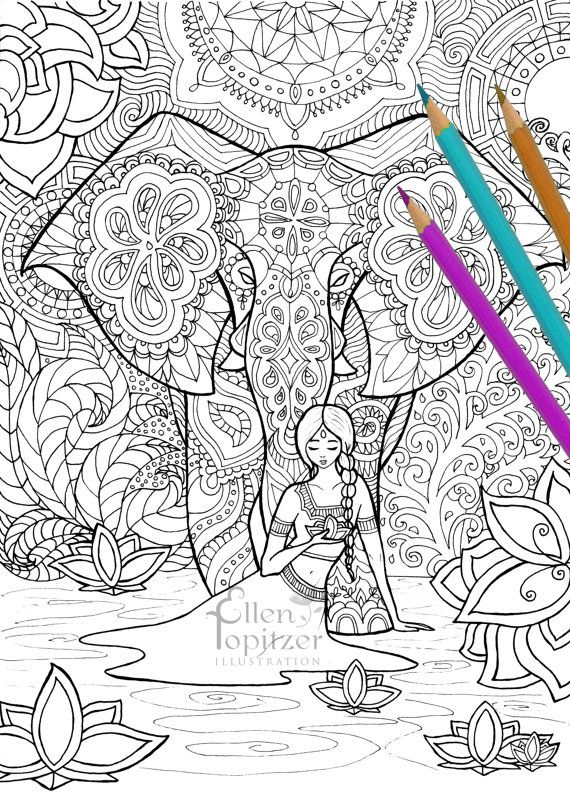 Coloring Page - Indian Dream : beautiful elephant | Elephant ...