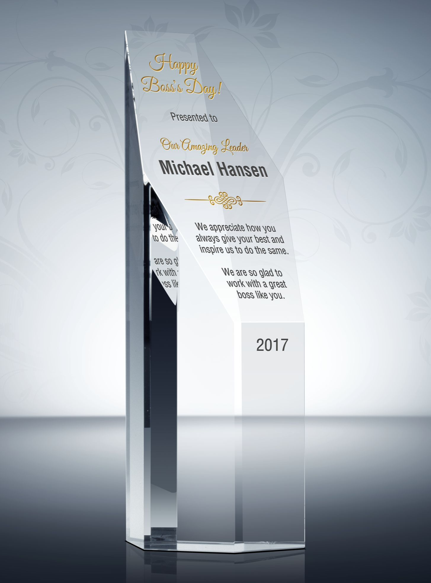 Custom Boss of the Year Gift Plaque | Appreciation and Thank