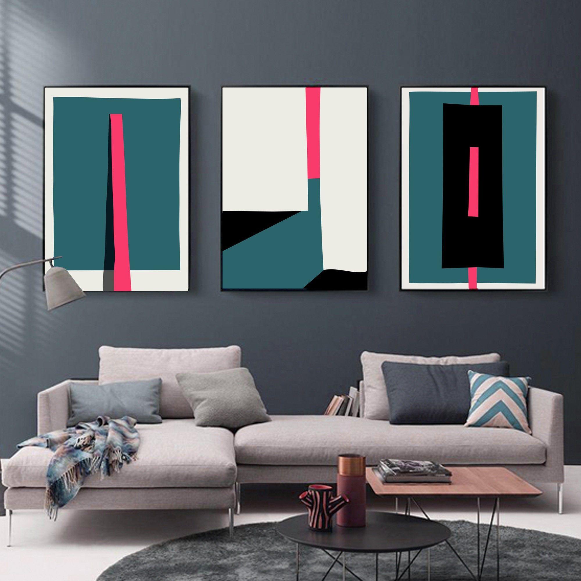 Geometric Wall Decor Neon Pink Abstract Color Block Wall Art Digital Download Prints For Housewarmin Contemporary Art Canvas Living Room Art Modern Art Decor