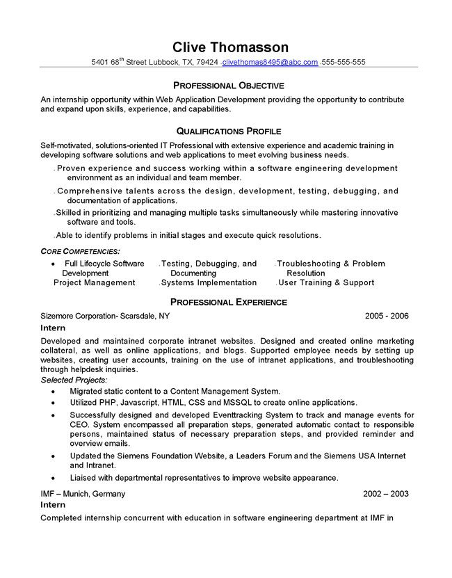 Php Programmer Resume - http\/\/wwwresumecareerinfo\/php - sample internship resume for college students