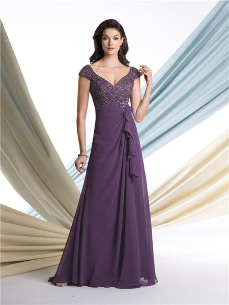 07b99d84662 Sexy A Line V Neck Cap Sleeve Purple Chiffon Sequined Mother Of The Bride  Evening Dress