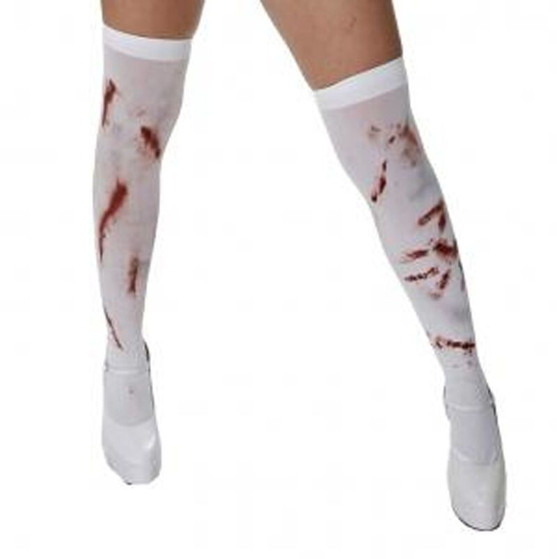 CHILDS BLOOD STAINED TIGHTS GIRLS HALLOWEEN BLOODY FANCY DRESS ACCESSORY