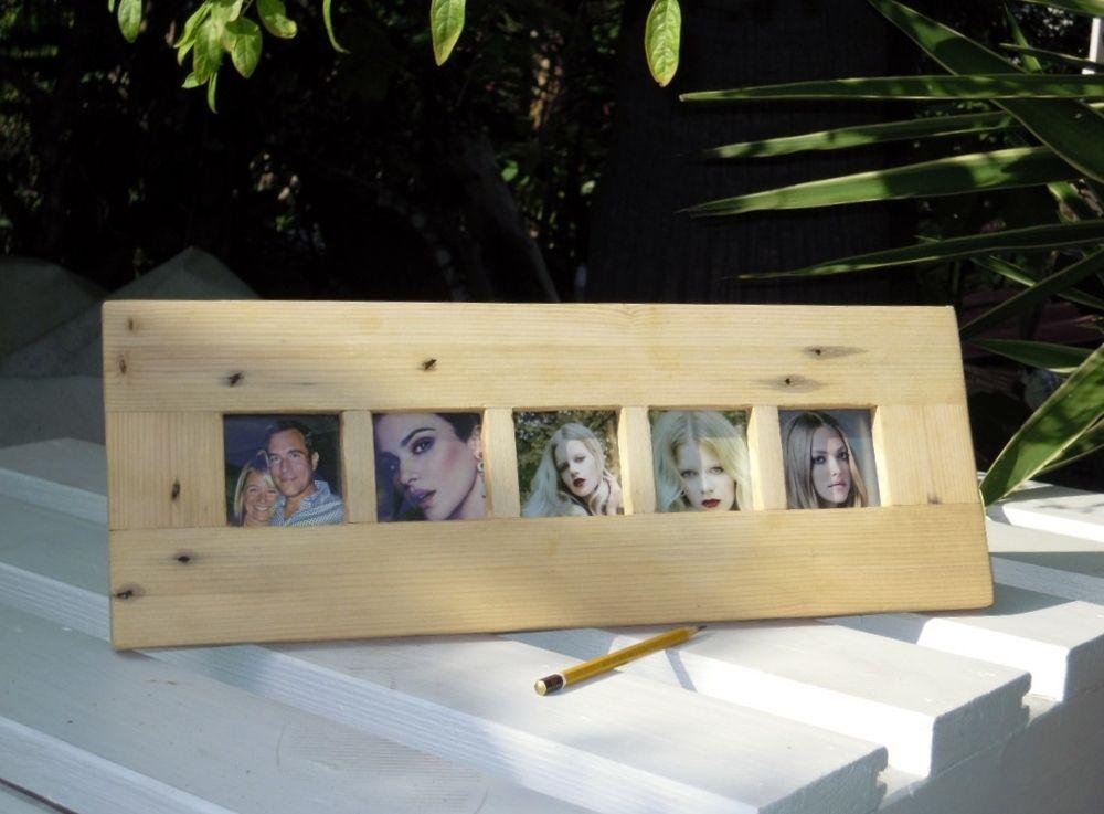 Marco de fotos realizado en madera de palet reciclada con for Mueble realizado con palet de madera