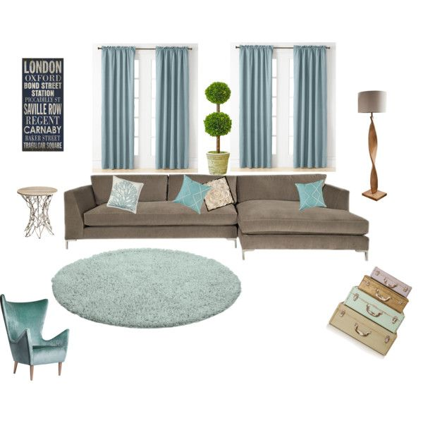 Turquoise and Taupe Living Room
