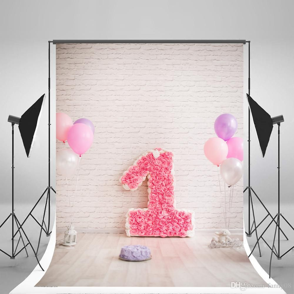 5x7ft(150x210cm) Brick Wall Photographic Backgrounds Pink