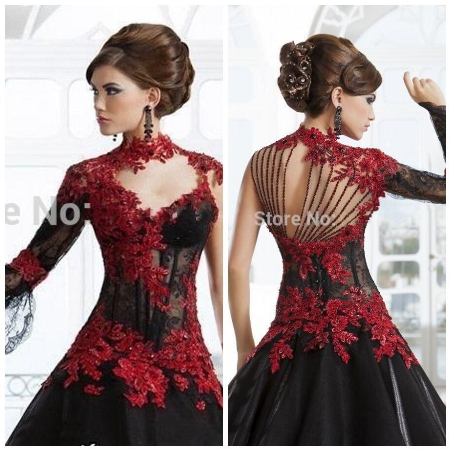 Romantique-noir-gothique-robe-de-bal-robes-de-mari%25C3%25A9e-col ...